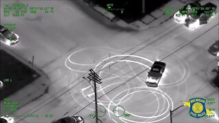 WATCH: Chopper video shows MSP track and arrest alleged street racers in Detroit