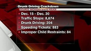 Over 200 arrested during drunk driving crackdown