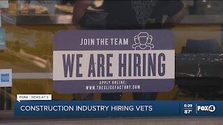 Construction industry hiring, looking for veterans