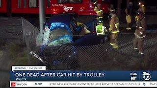 Car struck by trolley, driver killed