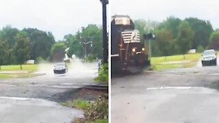 INSANE nearly crash with the train