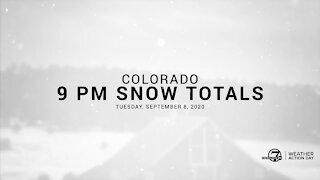 9 PM Colorado snow totals for Tuesday