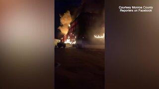 Crews battle massive fire at Toledo Beach Marina south of Monroe