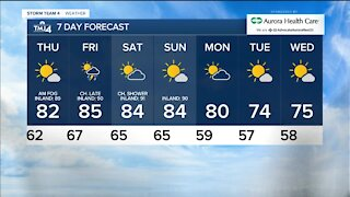 Thursday is sunny with temps in the 70s
