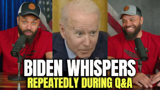 Biden Whispers Repeatedly During Q&A