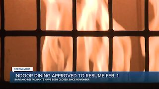 Indoor dining approved to resume Feb. 1