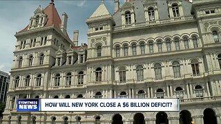 How will New York State close a $6.1 billion budget deficit