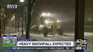 Heavy snow falling in Flagstaff