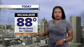 Mostly sunny with isolated thunderstorms Sunday