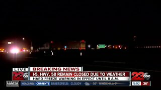 I-5 Hwy. 58 Remains Closed due to weather