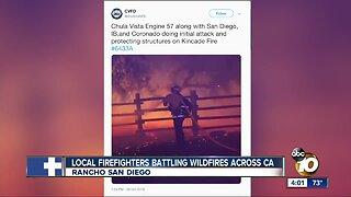 Local firefighters battle fires across California