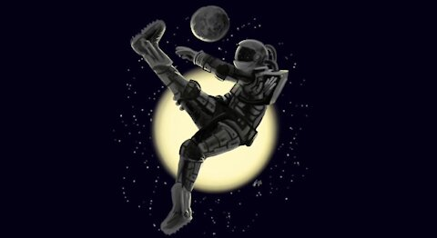 Space Soccer with the Moon Illustration Painting Time-Lapse