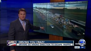 Impatient drivers use 'on' ramp to exit i-225, avoid construction related traffic backup
