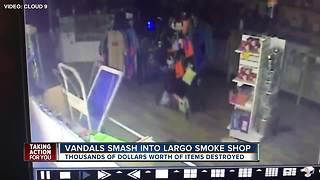 Vandals smash through front window, destroy items inside Largo smoke shop