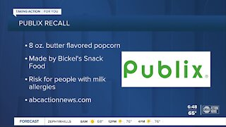 Popcorn sold at Publix recalled for not labeling milk in product