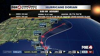 Hurricane Dorian update: 8am Monday