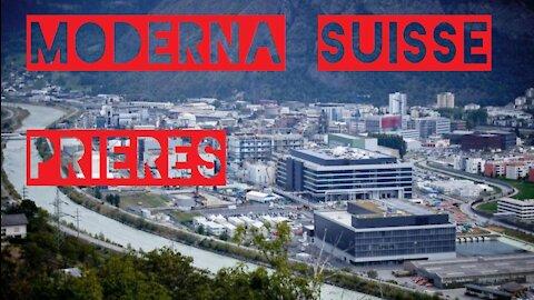 Procession religieuse devant l'usine Moderna dans le Valais