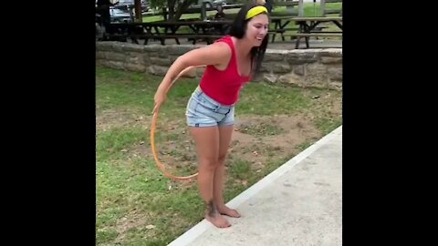 Woman Spins Hula Hoop With her Butt