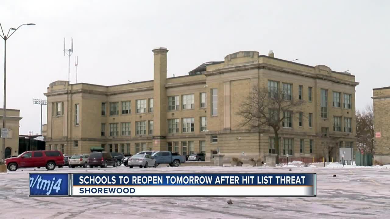 Shorewood Schools to reopen after Hit List