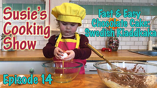 2-year-old makes fast & easy chocolate cake