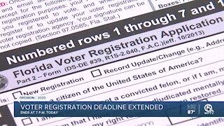 Voter registration deadline extended until 7 p.m. Tuesday