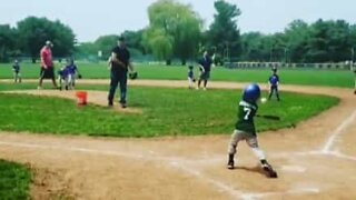 Young baseball player makes impressive hole in one