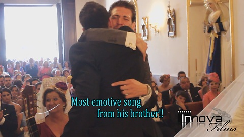 Brothers sing emotional song to couple at wedding
