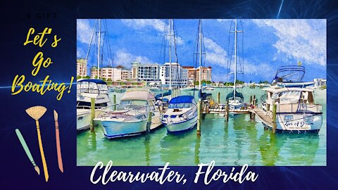 How to paint Sky, Sea water and Sail Boats in watercolor.