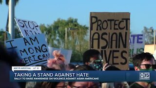 Large group gathers for march to raise awareness on violence against Asian Americans