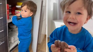 Toddler discovers hidden chocolate, immediately runs away with it