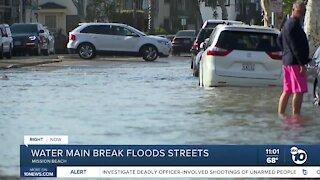 Water main break floods Mission Beach streets