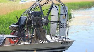 Airboat's prop used to blow leaves