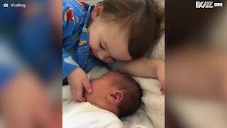 Cet enfant est ravi d'avoir une petite sœur!