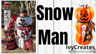Dollar Tree Snow Man Tutorial DIY