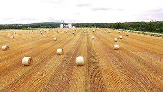 Drone captures unique perspective of rural farm during hay season