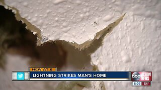 Lightning breaks through ceiling of Hillsborough County man's home