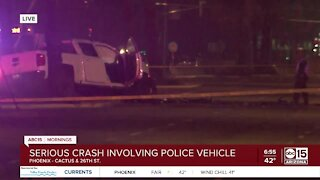 Serious crash involving police vehicle near 26th Street and Cactus Road