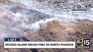 Second-alarm brush fire in North Phoenix