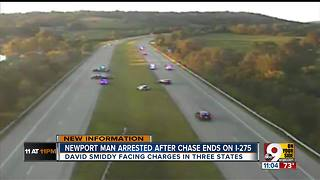 Driver arrested after leading police on chase through three states