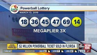 Powerball ticket worth $2 million sold in Florida