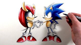 Drawing Sonic and Mighty - Sonic Mania Plus