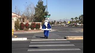 Santa in the crosswalk