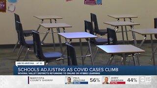 Schools adjusting as COVID cases climb