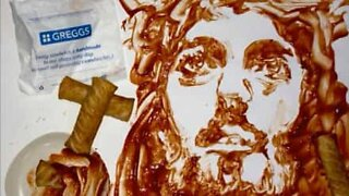 Painting of Jesus using...a sausage roll