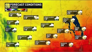 Temperature divide across the Prairies sets the stage for severe storms and even snow