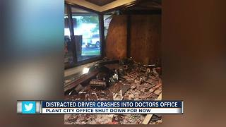 Distracted driver crashes into doctor's office