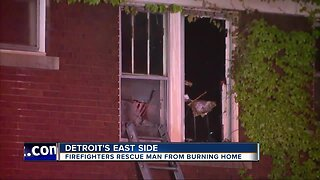 Detroit man rescued from burning home on east side