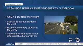 Some Oceanside students to be allowed to return to schools