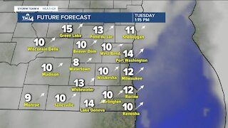 Mostly cloudy Monday, few flurries possible