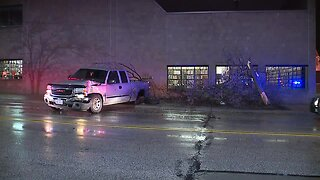 Truck crashes into library